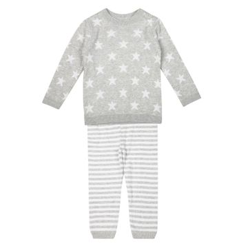 Mothercare | Girls Full Sleeves Star Print T-Shirt And Jogger Set - Grey