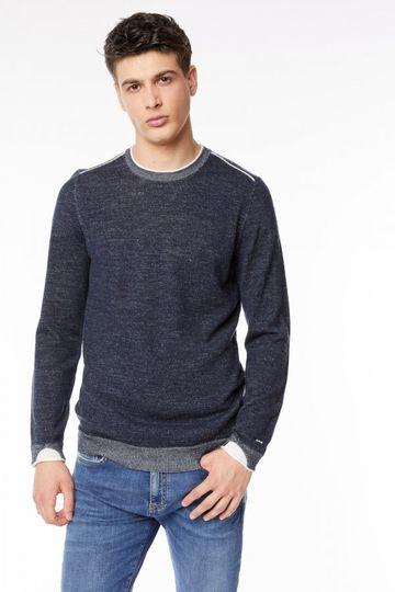 GAS | Navy Blue Men's Barnie/S Textured Sweater