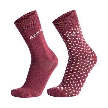 REPLAY | Bordeaux-Light Grey Socks Leg Logo&Pois 2 Pack