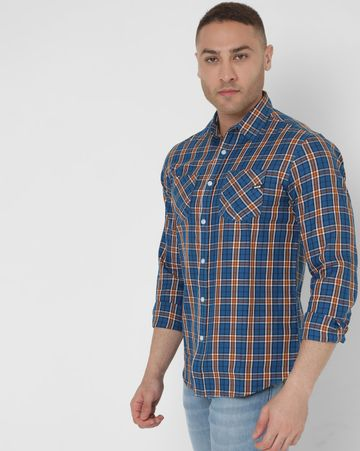 GAS | Men's Victor Wf Ec In Slim Fit Checkered shirt