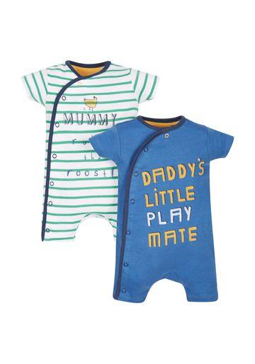 Mothercare   Boys Little Farmer Rompers - Pack Of 2 - Blue