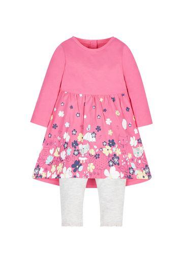 Mothercare | Pink Cat Dress And Leggings Set