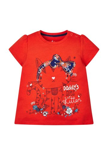 Mothercare | Girls Red Kitten T-Shirt
