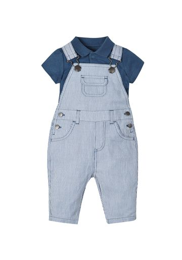 Mothercare | Boys Stripy Dungarees And Polo Bodysuit Set - Navy