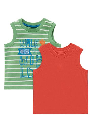Mothercare | Boys Walk On The Wild Side Vests - 2 Pack - Green