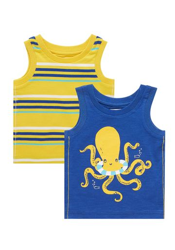 Mothercare | Boys Octopus And Stripe Vests - 2 Pack - Navy