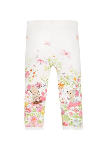 Mothercare | Girls Floral Border Leggings  - White