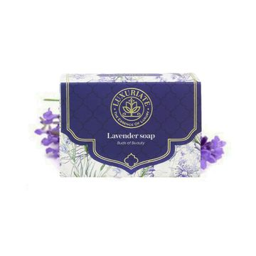 LUXURIATE | LUXURIATE Lavender Handmade Soap with Real Lavender Rejuvenating Body Beauty Bar for Men and Women,125 gm