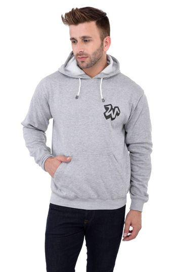 Weardo | Grey Stylish W Printed Hooded Sweatshirt