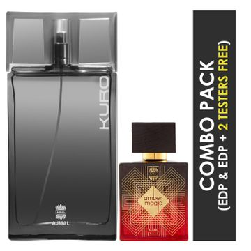Ajmal | Ajmal  Kuro EDP Aromatic Spicy Perfume 90ml for Men and Amber Magic EDP Spicy Aromatic Perfume 100ml for Men + 2 Parfum Testers FREE
