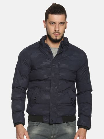 Showoff | Men NavyBlue Camouflage Padded Jacket with Detachable Hood