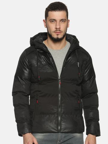 Showoff | Men Black Camouflage Padded Jacket with Detachable Hood