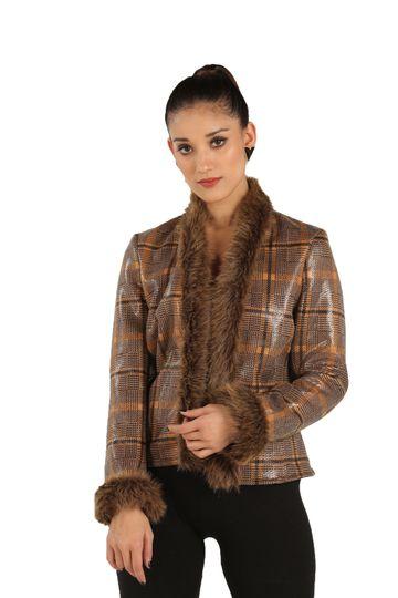 EUDORA CUT | Front Open Brown Fur Checkered Jacket