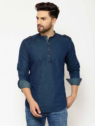 Eppe | EPPE Men's Solid Smart Fit Full Sleeves Casual Denim Shirt Kurta