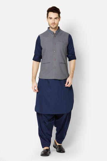 Ethnicity | Grey embroidered sleeveless jacket