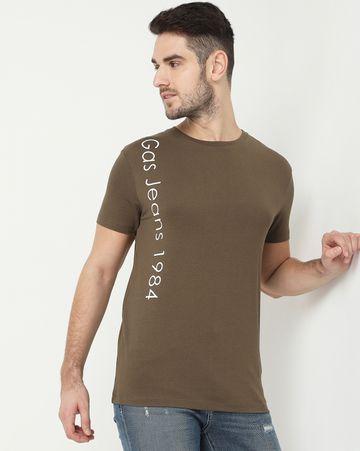 GAS | Scuba Vertical Olive Crew Neck T-Shirt