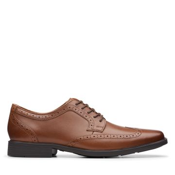 Clarks | TILDEN WING DARK TAN LEATHER FORMAL LACE UP
