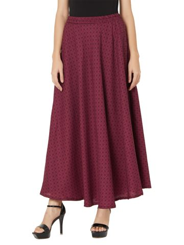Smarty Pants | Smarty pants women's maroon color floral print flare skirt