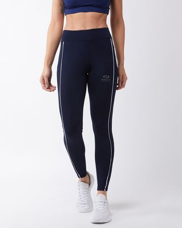 Masch Sports | Masch Sports Women's Navy Blue Solid Sports Tights with Front White Piping