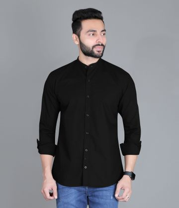 5th Anfold | FIFTH ANFOLD Casual Mandrin Collar full Sleev/Long Sleev Black Pure Cotton Plain Solid Men Shirt(Size:3XL)