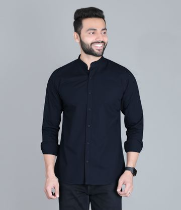 5th Anfold | FIFTH ANFOLD Casual Mandrin Collar full Sleev/Long Sleev Navy Blue Pure Cotton Plain Solid Men Shirt(Size:3XL)