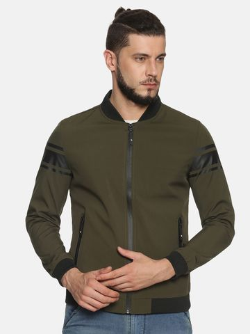Showoff | Men Green Casual Solid Sporty Jacket