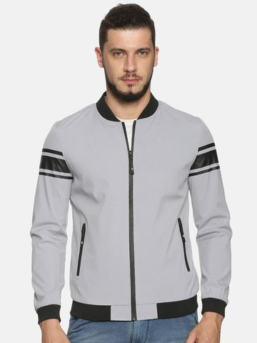 Showoff | Men Grey Casual Solid Sporty Jacket