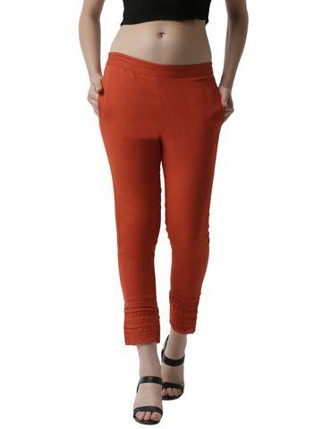 De Moza   De Moza Women's Cigarette Pant Woven Bottom with Lace Cotton Rust Orange