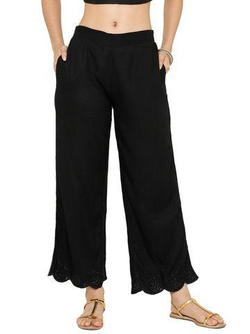 De Moza   De Moza Women's Cigarette Pant Woven Bottom Jaquard Cotton Black