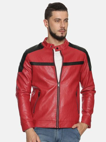 Showoff | Men Red Casual Solid Leather jacket
