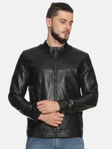 Showoff | Men Black Casual Solid Leather jacket