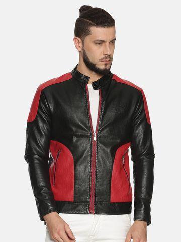 Showoff | Men Multi Casual Solid Leather jacket
