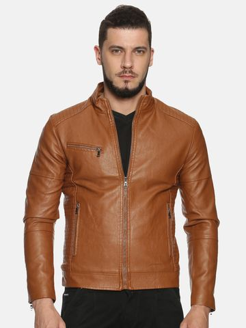 Showoff | Men Brown Solid Leather jacket with Detachable Hood