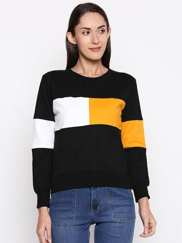 Jhankhi | Women's Sweatshirt Coloblocked Fleece Full Sleeve