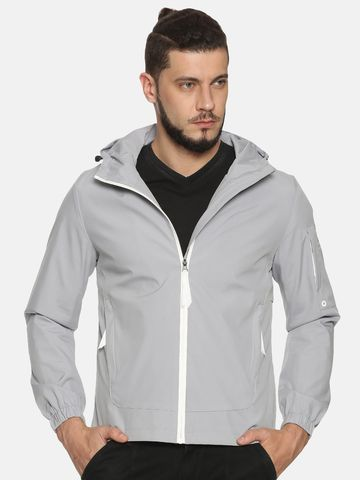 Showoff | Men Grey Solid Casual Jackets with Detachable Hood