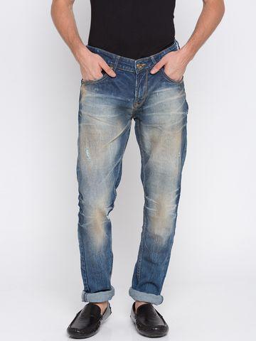 spykar   Spykar Mid Blue Ripped Skinny Fit Jeans