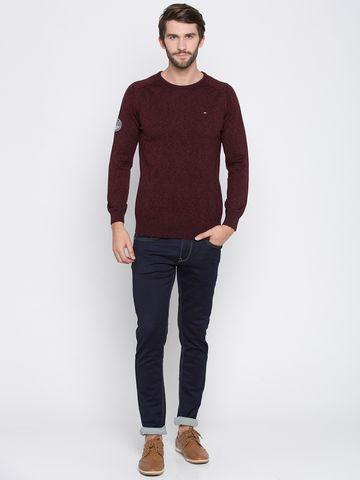 spykar | Spykar Maroon Melange Slim Fit Sweaters
