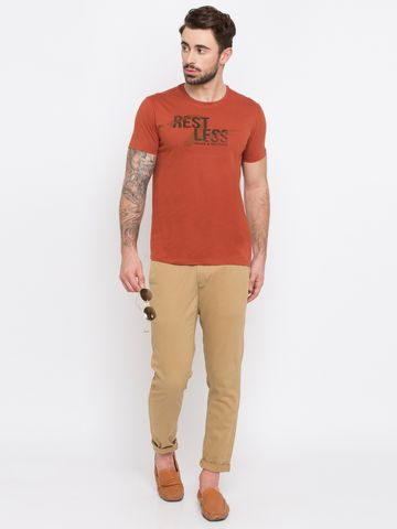 spykar | Spykar Red Printed Slim Fit T-Shirts