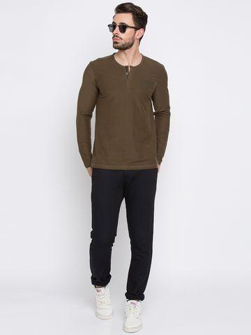 spykar | Spykar Military Olive Solid Slim Fit T-Shirts