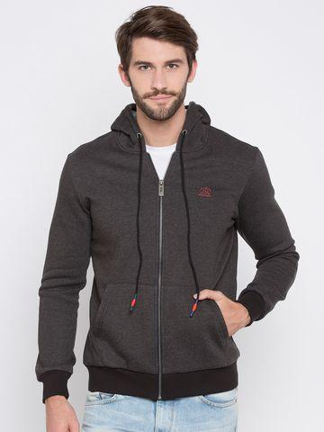 spykar | Spykar Grey Solid Slim Fit Hoodies