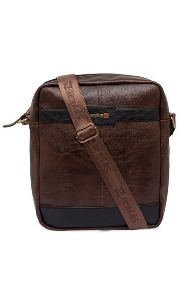 spykar | Spykar Brown Geniune Leather Messenger Bag