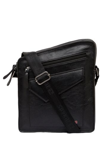 spykar | Spykar Black Genuine Leather Messenger Bag