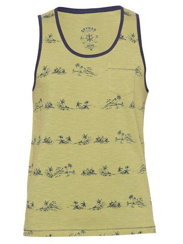spykar | Spykar Olive Green Printed Slim Fit T-Shirts