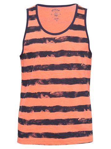 spykar | Spykar Peach Striped Slim Fit T-Shirts