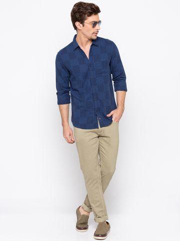 spykar | Spykar Navy Checked Slim Fit Casual Shirts