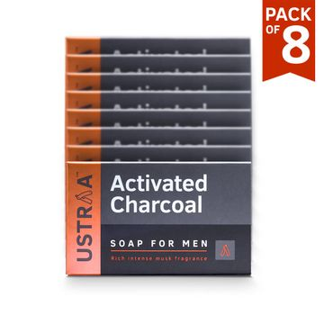 Ustraa | Ustraa Soap-Activated Charcoal-100g (Pack of 8)