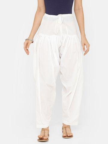 De Moza   De Moza Ladies Salwar Pant Woven Bottom Soild Cotton    White