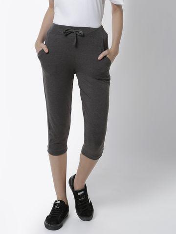 De Moza | De Moza Women's Yoga Pant Solid Cotton Anthra Melange