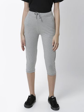De Moza | De Moza Women's Yoga Pant Solid Cotton Grey Melange