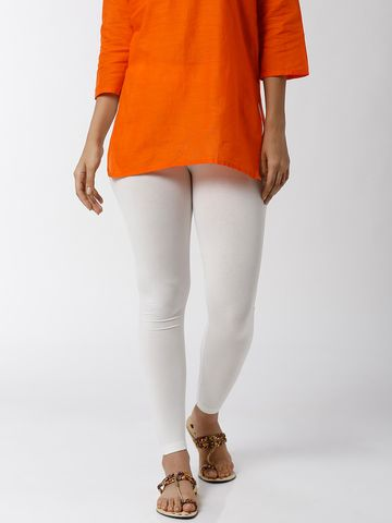 De Moza | De Moza Women's Ankle Length Leggings Solid Viscose Offwhite